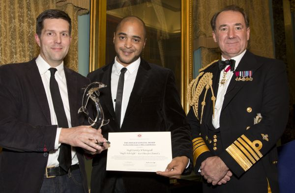 Pictured The First Sea Lord Admiral Sir George Zambellas with Keo Films - Hugh's Fish Fight, which was the winner of the Donald Gosling Film Award. Maritime Media Awards Dinner 13th November 2013 at The Institute of Directors, Pall Mall London SW1.
