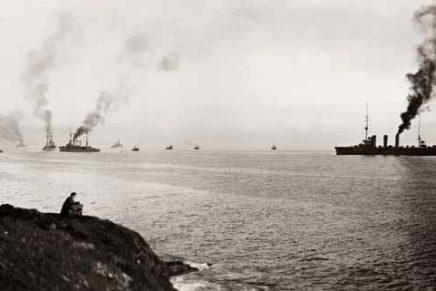 German warships entering Scapa Flow