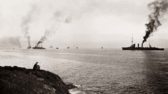 German warships entering Scapa Flow