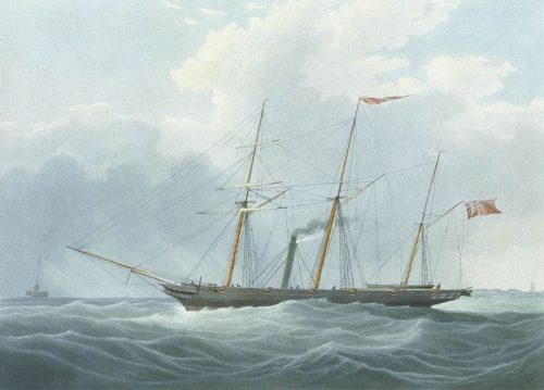 Aquatint of the steamship Archimedes (1836), in which Francis Pettit Smith first successfully used a screw propeller.