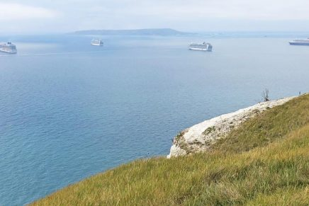 Cruise ships, laid-up because of the Covid-19 pandemic, at anchor off Portland in the summer of 2020.