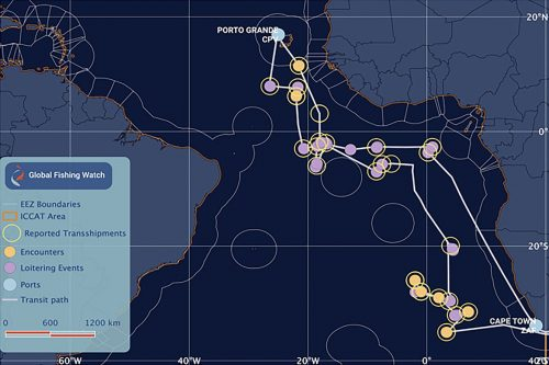 Potential encounters and loitering events involving an authorised Liberian-flagged carrier vessel, detected by AIS and crossreferenced with ICCAT Observer Reported transshipment data