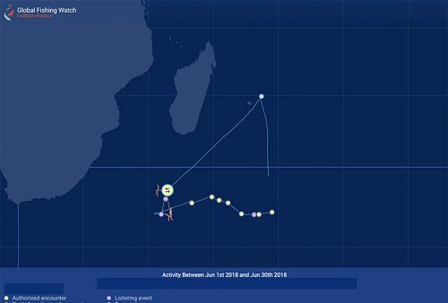AIS track history of possible transshipment events involving a carrier (blue tracks) and a fishing vessel (orange tracks) in the southern Indian Ocean.
