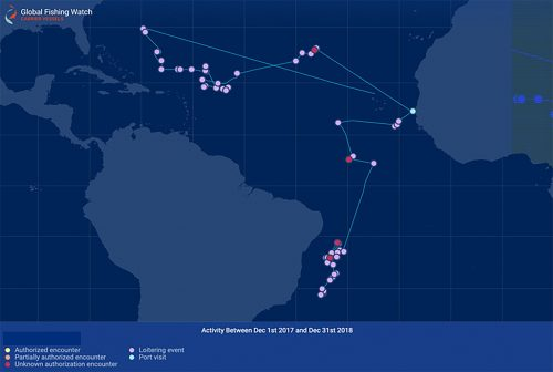 AIS tracking reveals encounter and loitering events involving a potentially unauthorised carrier vessel in ICCAT waters.