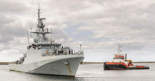 The new River Class Offshore Patrol Vessel HMS Forth at Mare Harbour in the Falkland Islands, early in 2020.