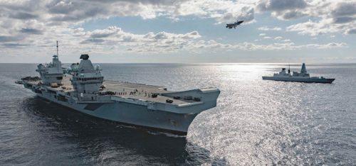 HMS Queen Elizabeth with a British F35B