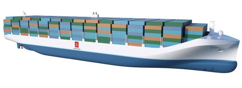 The shape of things to come? A concept illustration of an autonomous container ship, from Kongsberg Maritime.