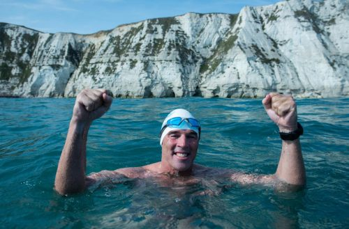 Lewis Pugh: I reach the white cliffs of Dover, United Kingdom at the end of my Long Swim campaign on 28 August 2018.