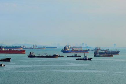 Merchant vessels in the Strait of Malacca