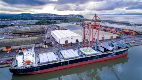 A steel-carrying vessel and new bespoke warehousing at the Bristol Port Company.