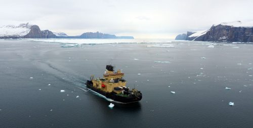 Swedish icebreaker Oden mapping in previously uncharted areas of Northern Greenland during the 2019 Ryder Expedition. The data were contributed to the Seabed 2030 Project.