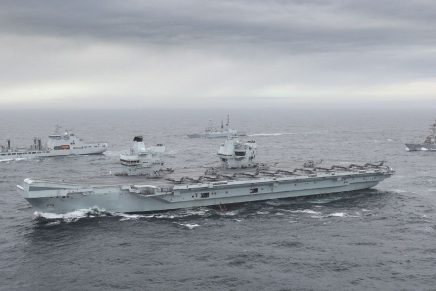 Part of the UK Carrier Strike Group, including American and Dutch warships, assembling for the first time during Group Exercise 2020 in the North Sea.